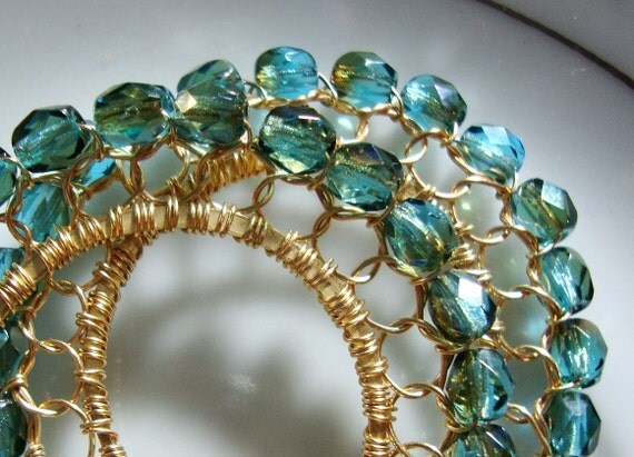 Dark Aquamarine Celsian and Gold Wire laced Hoop Earrings