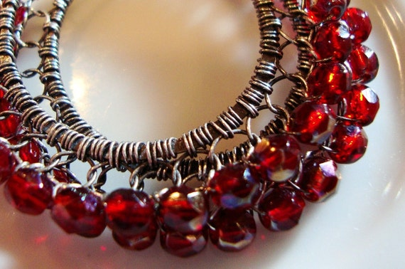 Midnight  Ruby Oxidized Sterling Silver Wire Lace Hoop Earrings