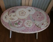 TINY BUBBLES broken china shabby chic pink roses Mosaic oval table duncan phyfe linen fold
