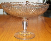 Tarentum Virgina pattern glass scalloped edge pedestal  compote EAPG crystal clear victorian early american pattern glass circa 1800s