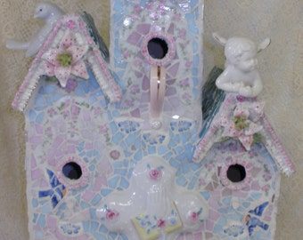 SWEET RETWEET shabby chic etsy art mosaic broken china stained glass large triple birdhouse indoor or outdoor