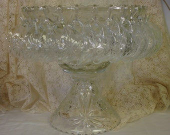 EAPC ANCHOR HOCKING  early american pressed cut glass star of david pattern punch bowl set with 12 glasses stand and hangers