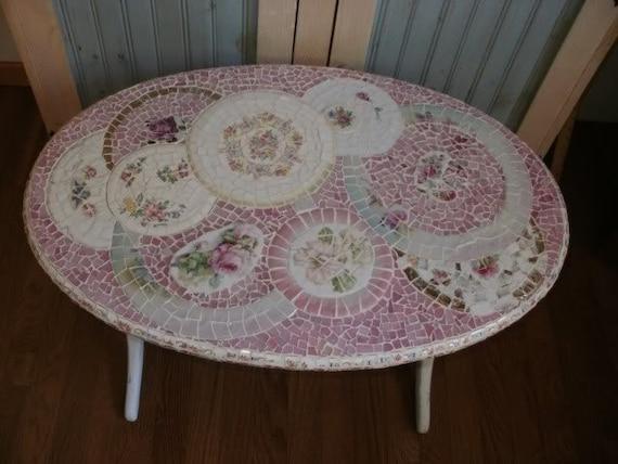 TINY BUBBLES broken china shabby chic pink roses Mosaic oval table duncan phyfe linen fold