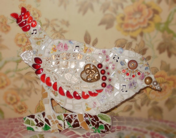 Songbird Shabby Chic Cottage Etsy Art Mosaic BIRD on Branch sparrow