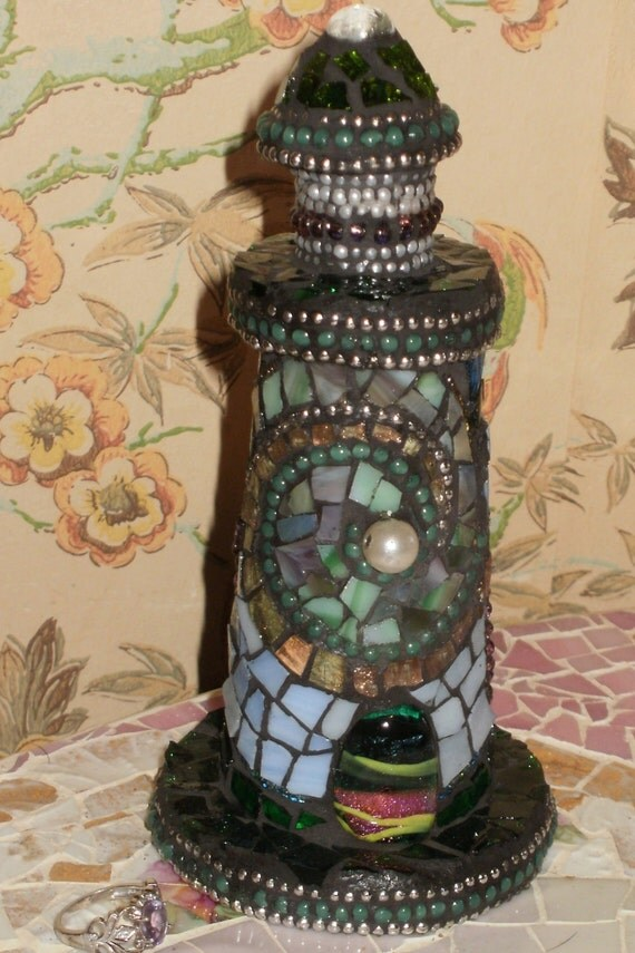 Contemporary FINE ART MOSAIC small lighthouse stained glass beads dicoric glass