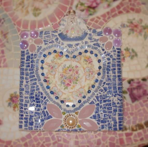 Blue and white Angel Transferware Jewel Decorated Picture Frame w Heart Opening