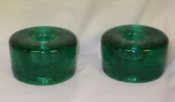BLeNkO  990A surf green candle holder candle holders pair of 2 midcentury modern home decor