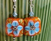 Adorable in Aquamarine and Orange - Earrings Featuring Two Handmade Lampwork Glass Beads by The Craftier Side