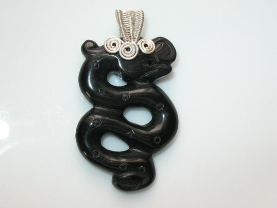 Blackstone carved snake with wire wrapped bail-Handmade wire wrapped pendent