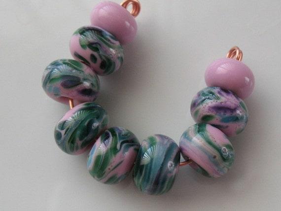 Rose pink with jewel-tone frit handmade lampwork beads-loose beads-glass beads-SRA