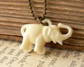 Lucky Elephant. vintage charm necklace