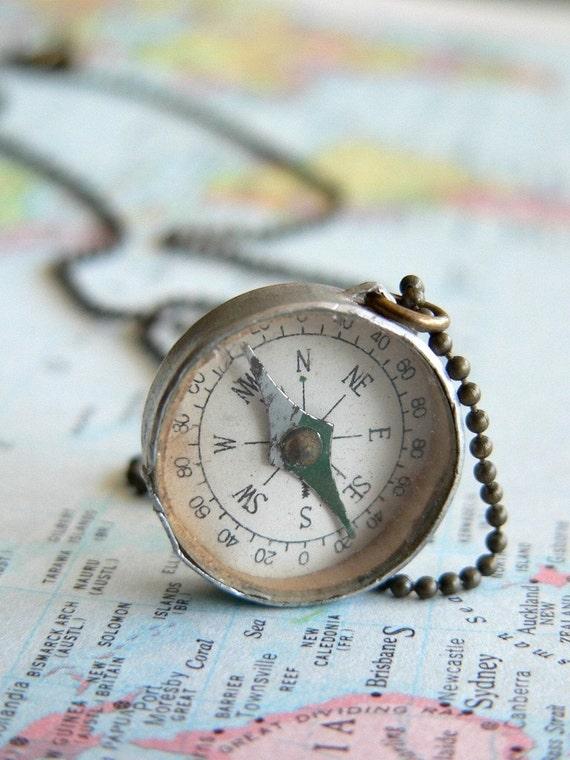 Compass. vintage charm necklace