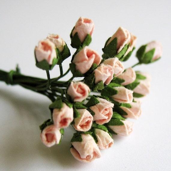 Mini Pink Paper Roses