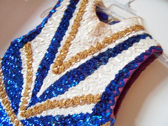 Vintage Drum Majorette Sequined Bodysuit - Great Costume for Twirler or Showgirl