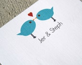 Modern love birds personalized stationery - notecards and notepads