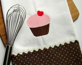 I Love Cupcakes Embroidered Tea Towel