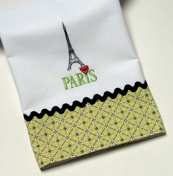 Dish Towel Sale: SALE I Love Paris Kitchen Towel Eiffel Tower Embroidery