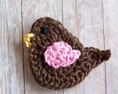 Crochet Bird Applique--Brown and Pink