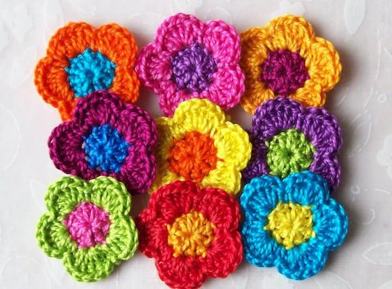 9 Handmade Crochet Flower Appliques...1.25 inch...brite colors