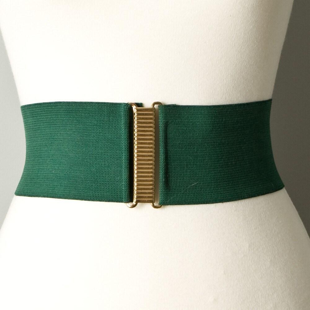 vintage wide elastic green belt