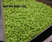 Lime Green Opaque Czech Seed Beads size 11/0 lot of 20 grams