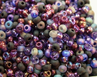 Storm Clouds on the Horizon size 6 seed bead Mix 50 grams size 6/0 4mm purple Colors Crafts Jewelry