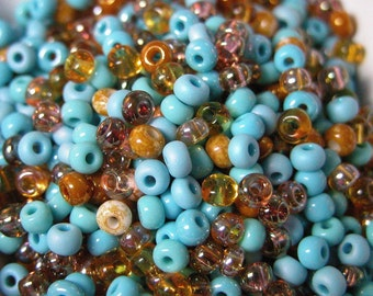 Turquoise Topaz Mix 6/0 CZECH GLASS LOT 50g  4mm
