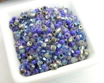 Silvery Moon Blue Moon Glass seed bead mix size 6 Blue and silver beads