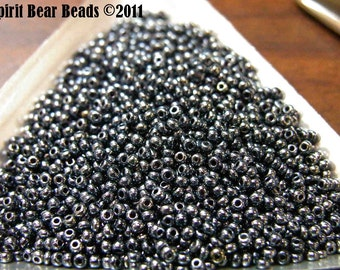 Gunmetal Iris Czech Seed Beads size 11/0 lot of 20 grams
