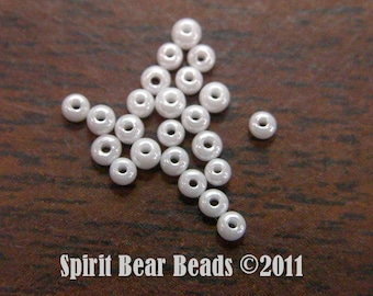 White Opaque Luster Czech Seed Beads size 11/0 lot of 20 grams