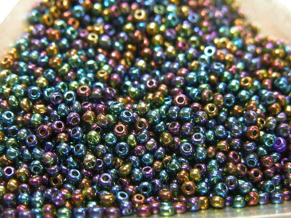 Blue Iris Aurora Borealis Czech Seed Beads size 11/0 lot of 20 grams