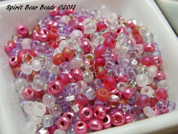 Unicorn Fantasy Pink Czech Glass seed bead mix size 6