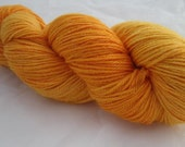 orange sock yarn, wool and ramie, hand dyed