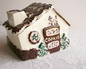 Vintage Gingerbread House Ceramic Cookie Jar Housewares Cleminsons California Pottery