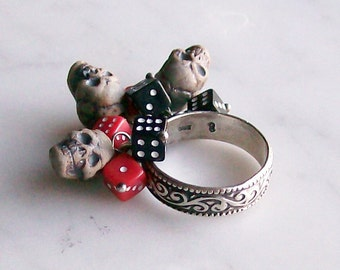 Ring Skulls Dice Sterling Silver Jewelry Voodoo Gothic Memento Mori Size 8