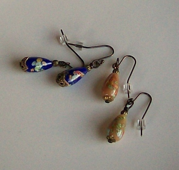 RESERVED - Vintage Glass Drop Earrings Boho Jewelry 2 Pairs