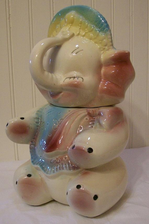 Reserved cookie jar vintage ceramic baby elephant american - Vintage elephant cookie jar ...