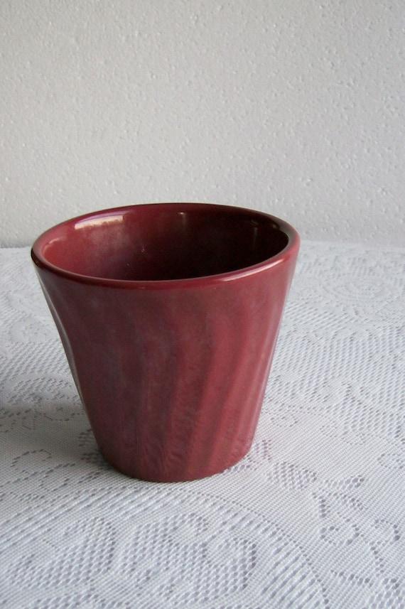 Vintage Planter Pot Burgundy US Pottery Jardiniere Mid Century Decor