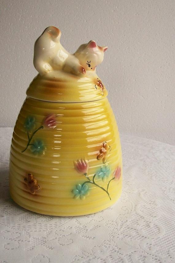 Vintage cookie jar kitten on a beehive by aletafordbakerdesign - Beehive cookie jar ...