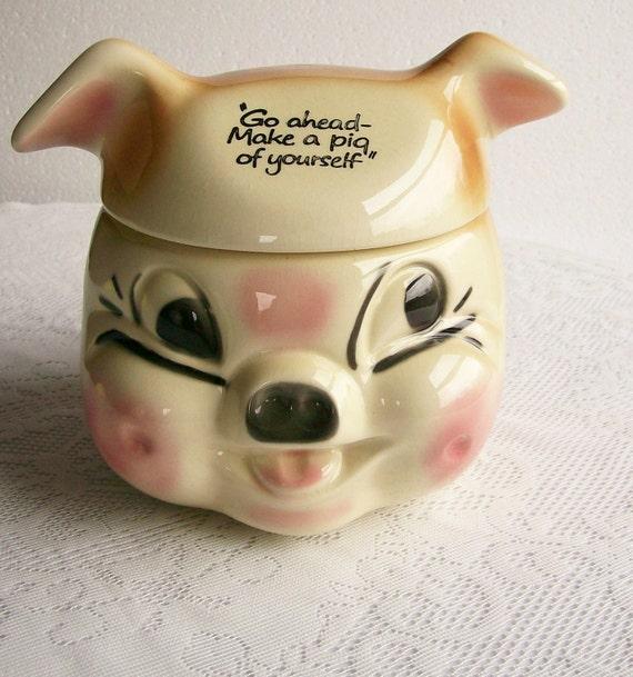 Cookie Jar Cardinal USA Vintage Go Ahead Make A Pig Of Yourself