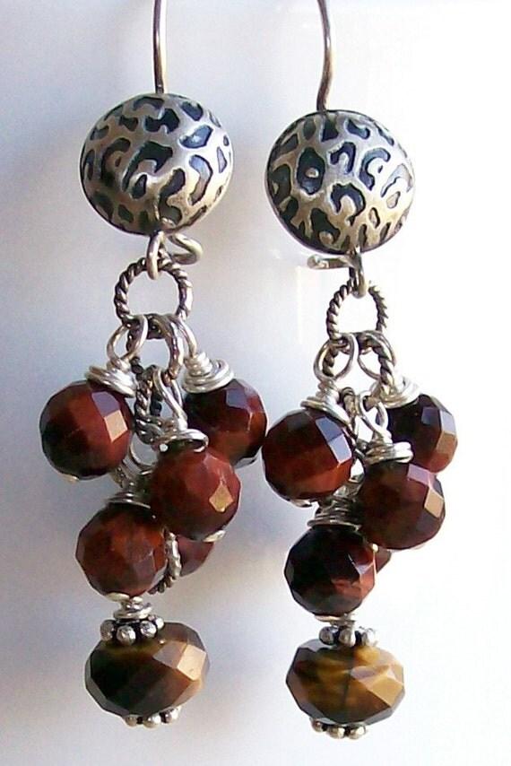 Sterling Silver Dangle Earrings Tigers Eye Wire Wrapped Boho Jewelry