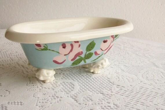 Vintage Pottery Soap Dish Bathtub Cleminsons California
