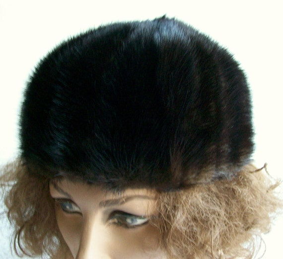 Womens Mink Hat Peck & Peck Dark Brown Vintage Mod