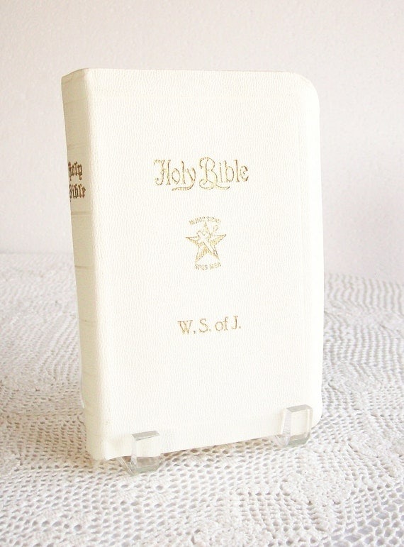 Holy Bible Wedding White Leather Vintage 1950