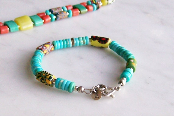 Turquoise Bracelet African Trade Beaded Tribal Jewelry Sterling Silver