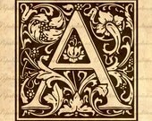 Ornate Alphabet Initial Large Letter of your choice Digital Download for Tea Towels, Papercraft, Transfer, Pillows and more