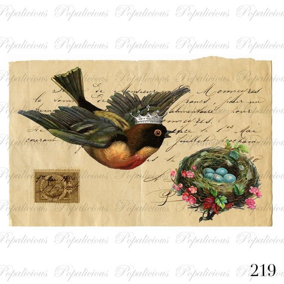 Vintage Style Paris Bird with Nest and eggs Paris collage Digital Download for Tea Towels, Papercraft, Transfer, Pillows and more