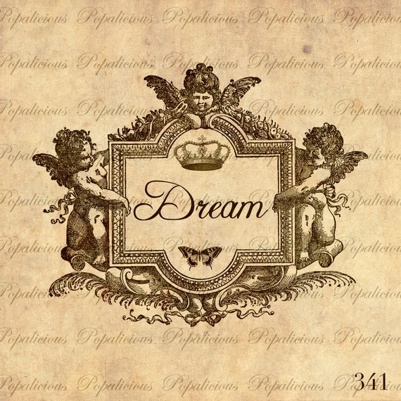 Dream Typography in Cherub Vintage Frame Digital Image Transfer for Paper Crafts, Pillow, Tea towels and more