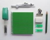 Mini Notebook Green Corrugated Spiral Bound (4x4)