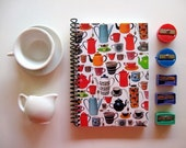 Coffee Pots and Cups, Recipes Notebook, Spiral Notebook, Small Notebook, Spiral Bound Journal, Writing Journal, Blank Sketchbook